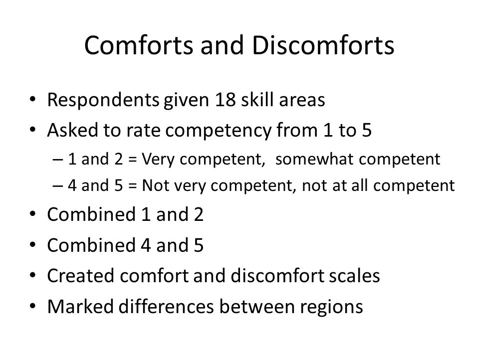 Comforts and Discomforts Respondents given 18 skill areas Asked to rate competency from 1 to 5 – 1 and 2 = Very competent, somewhat competent – 4 and 5 = Not very competent, not at all competent Combined 1 and 2 Combined 4 and 5 Created comfort and discomfort scales Marked differences between regions
