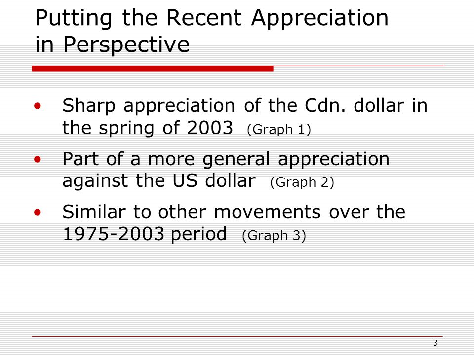 3 Putting the Recent Appreciation in Perspective Sharp appreciation of the Cdn.