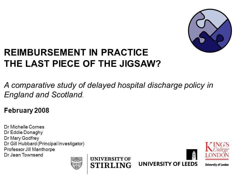 REIMBURSEMENT IN PRACTICE THE LAST PIECE OF THE JIGSAW.
