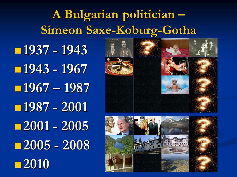 A Bulgarian politician – Simeon Saxe-Koburg-Gotha 1937 - 1943 1937 - 1943 1943 - 1967 1943 - 1967 1967 – 1987 1967 – 1987 1987 - 2001 1987 - 2001 2001