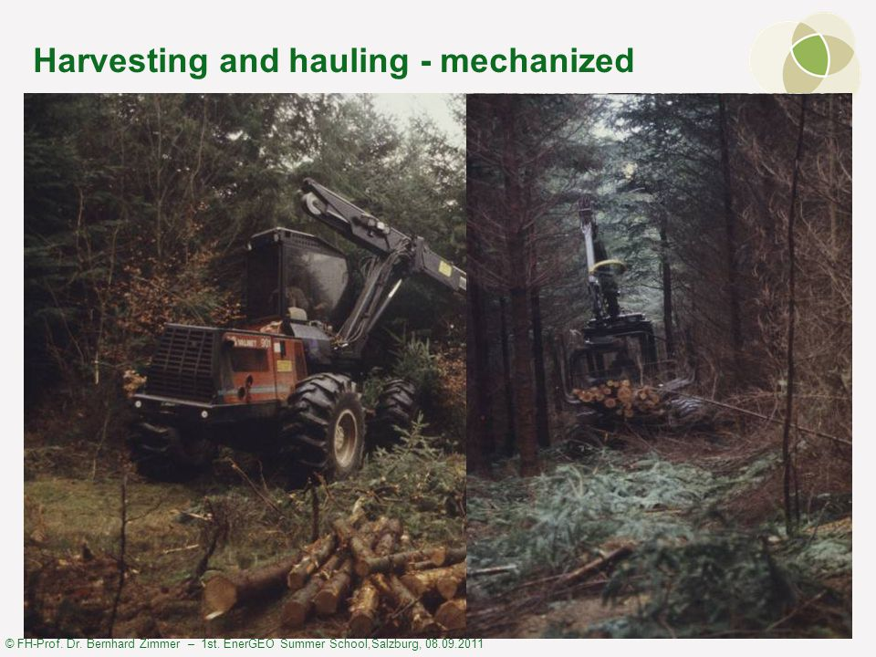 © FH-Prof. Dr. Bernhard Zimmer – 1st. EnerGEO Summer School,Salzburg, 08.09.2011 Harvesting and hauling - mechanized