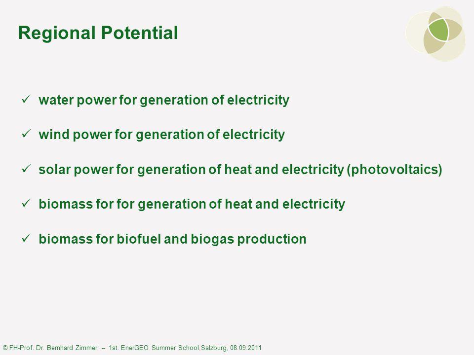 © FH-Prof. Dr. Bernhard Zimmer – 1st. EnerGEO Summer School,Salzburg, 08.09.2011 Regional Potential water power for generation of electricity wind pow