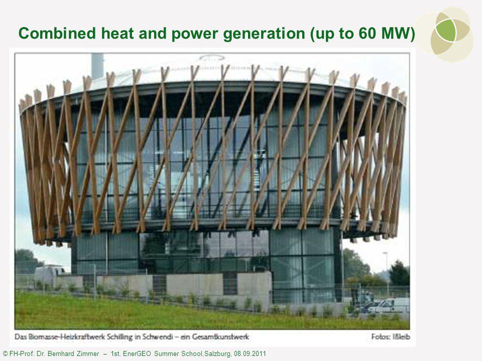 © FH-Prof. Dr. Bernhard Zimmer – 1st. EnerGEO Summer School,Salzburg, 08.09.2011 Combined heat and power generation (up to 60 MW)