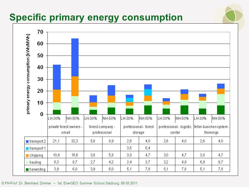 © FH-Prof. Dr. Bernhard Zimmer – 1st. EnerGEO Summer School,Salzburg, 08.09.2011 Specific primary energy consumption
