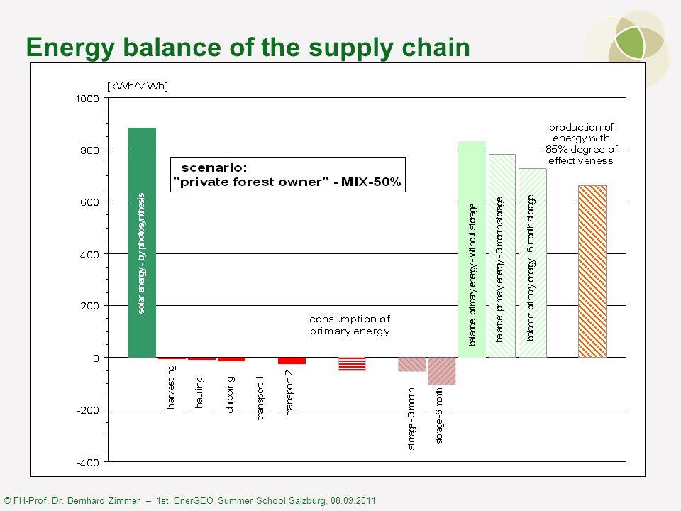 © FH-Prof. Dr. Bernhard Zimmer – 1st. EnerGEO Summer School,Salzburg, 08.09.2011 Energy balance of the supply chain