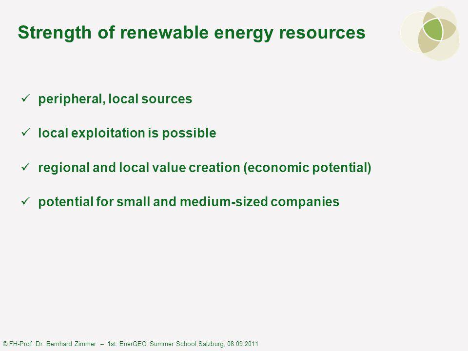 © FH-Prof. Dr. Bernhard Zimmer – 1st. EnerGEO Summer School,Salzburg, 08.09.2011 Strength of renewable energy resources peripheral, local sources loca