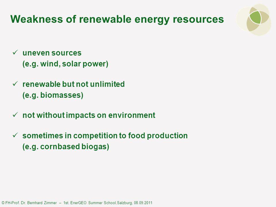 © FH-Prof. Dr. Bernhard Zimmer – 1st. EnerGEO Summer School,Salzburg, 08.09.2011 Weakness of renewable energy resources uneven sources (e.g. wind, sol