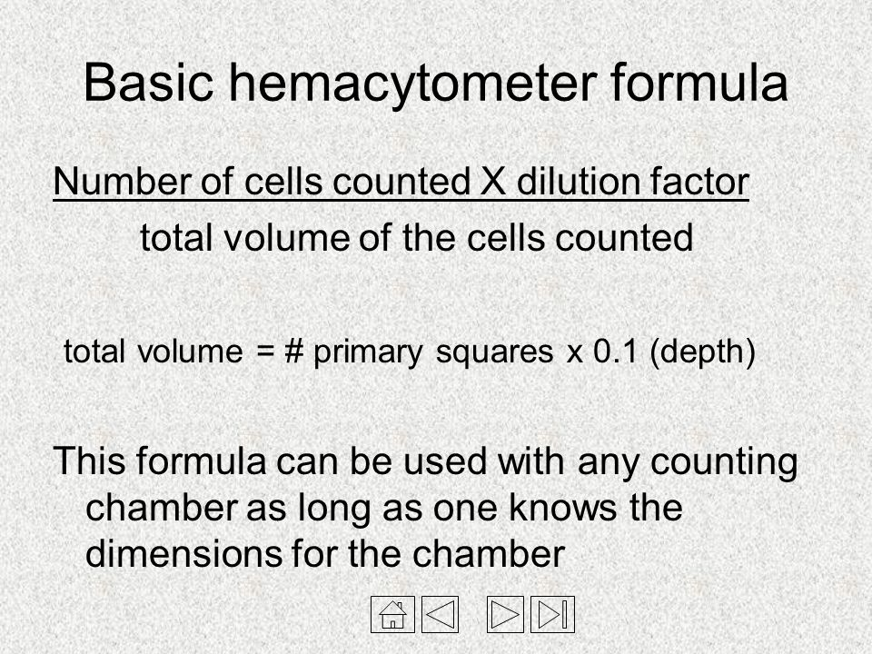 Basic hemacytometer formula Number of cells counted X dilution factor total volume of the cells counted total volume = # primary squares x 0.1 (depth)