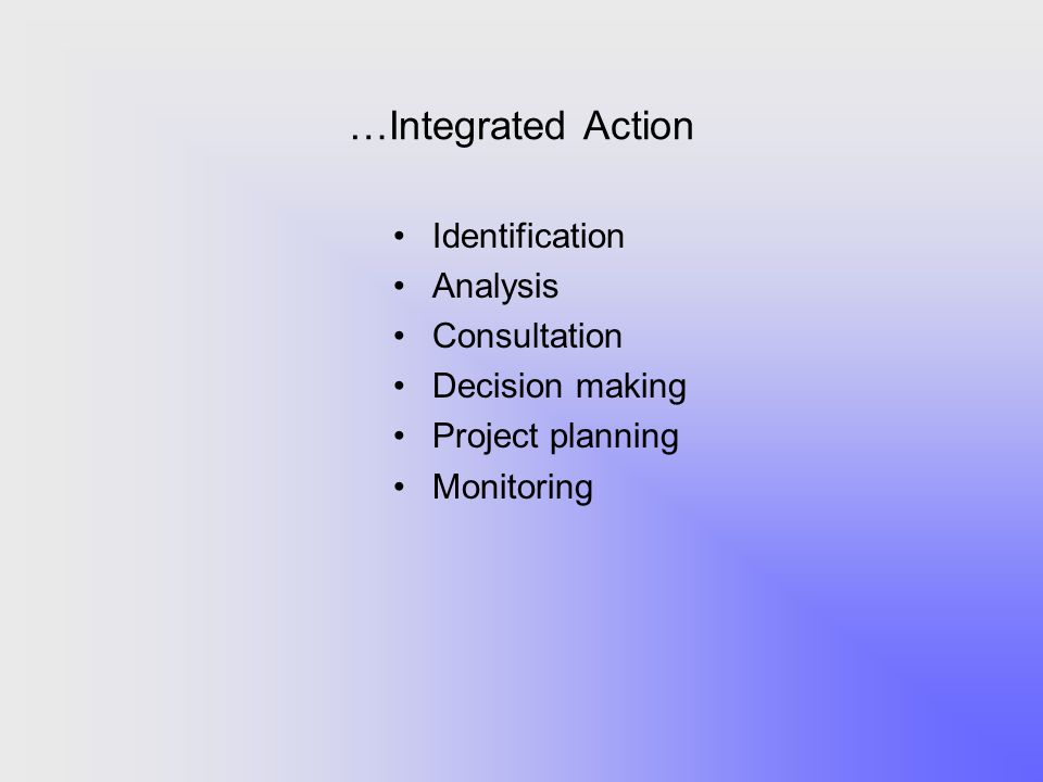 …Integrated Action Identification Analysis Consultation Decision making Project planning Monitoring