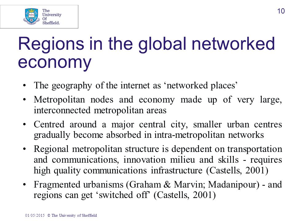 01/05/2015© The University of Sheffield 10 Regions in the global networked economy The geography of the internet as 'networked places' Metropolitan no