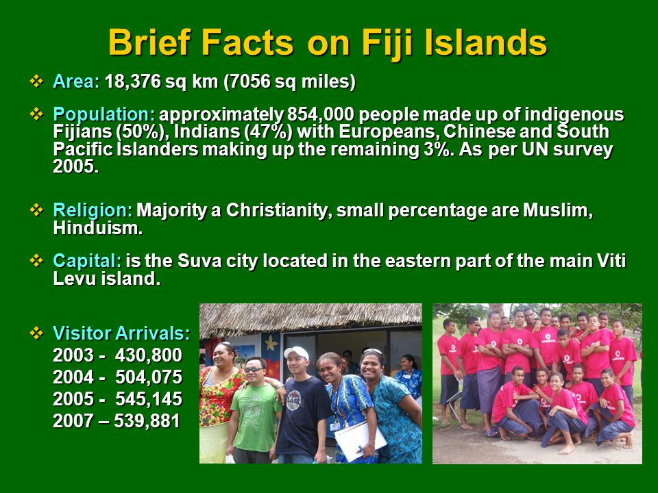 Brief Facts on Fiji Islands  Area: 18,376 sq km (7056 sq miles)  Population: approximately 854,000 people made up of indigenous Fijians (50%), Indians (47%) with Europeans, Chinese and South Pacific Islanders making up the remaining 3%.