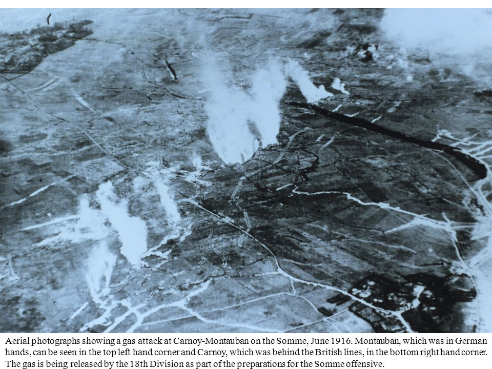 Aerial photographs showing a gas attack at Carnoy-Montauban on the Somme, June 1916.