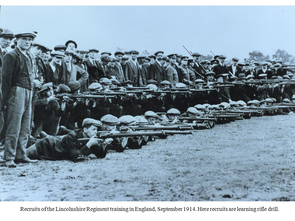 Recruits of the Lincolnshire Regiment training in England, September 1914.
