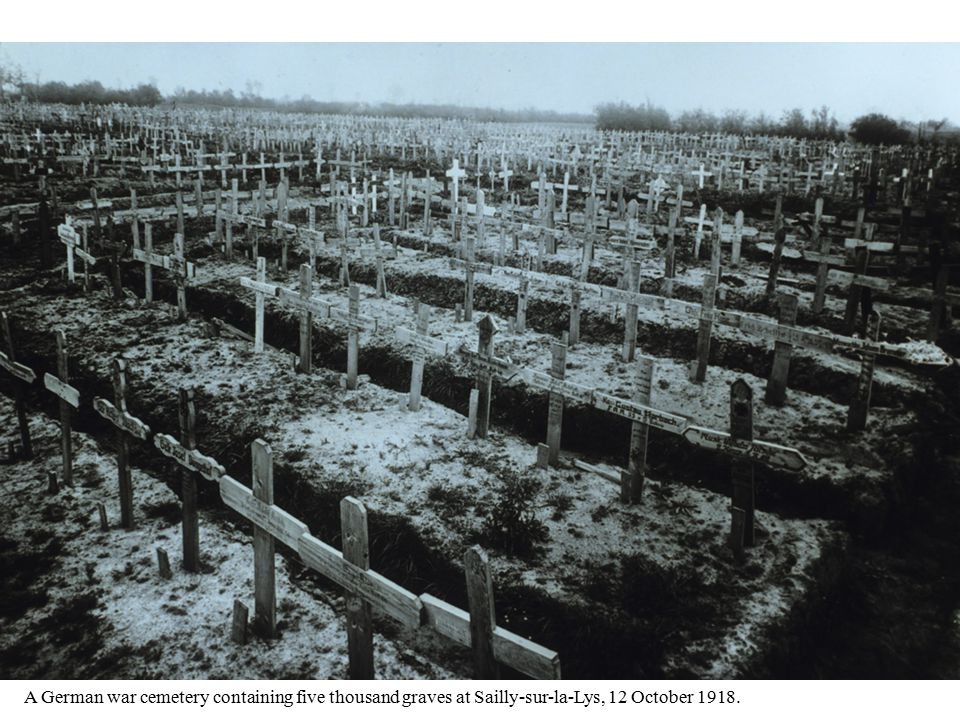 A German war cemetery containing five thousand graves at Sailly-sur-la-Lys, 12 October 1918.