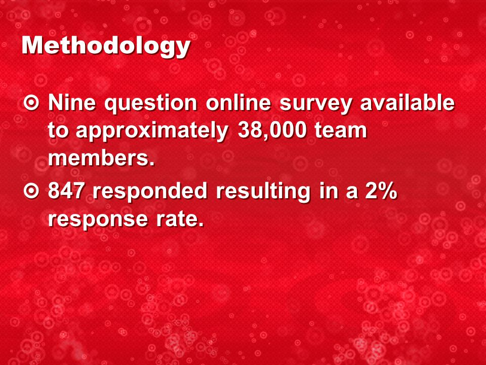 Nine question online survey available to approximately 38,000 team members.