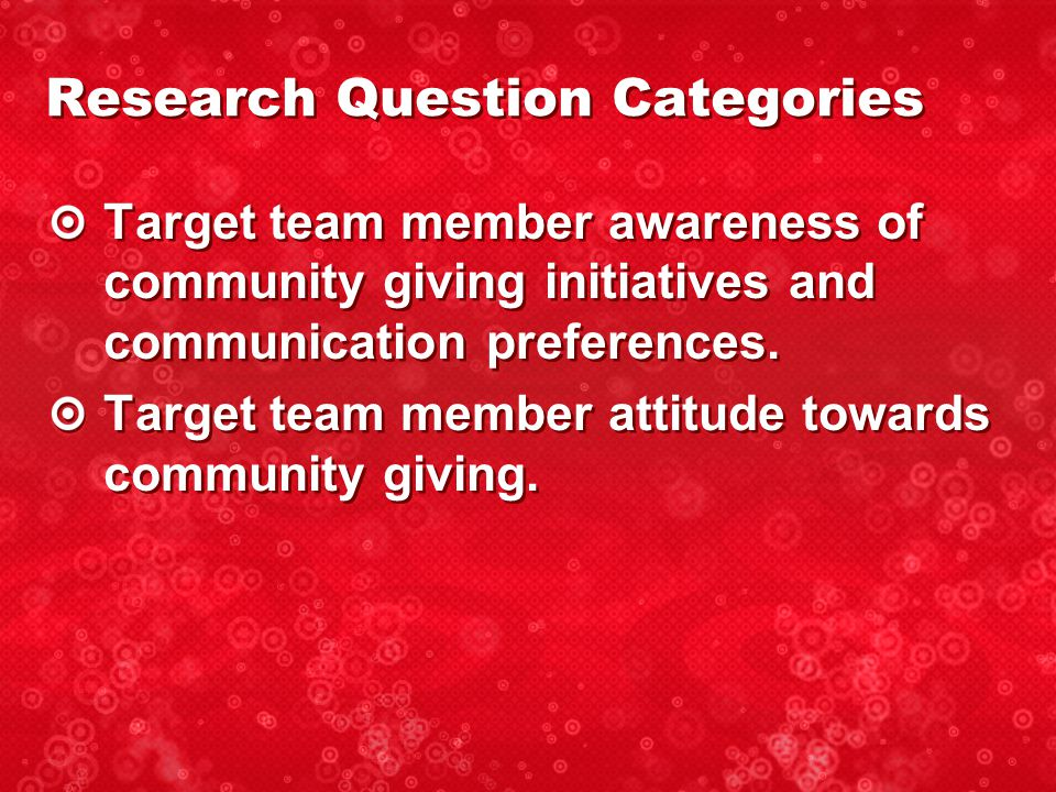 Target team member awareness of community giving initiatives and communication preferences.