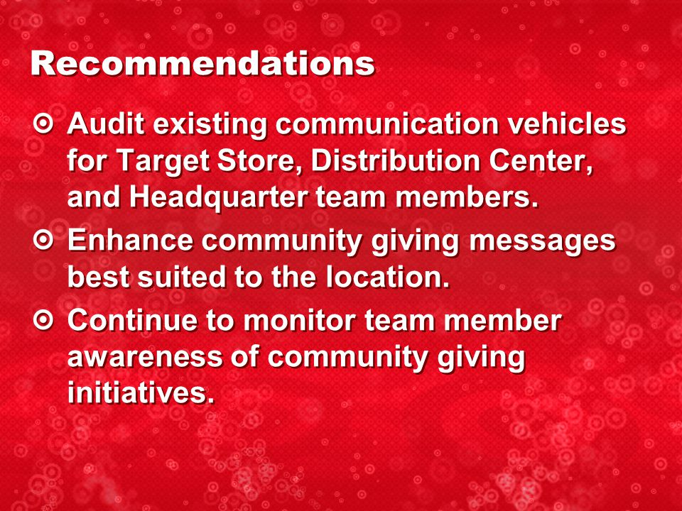 Audit existing communication vehicles for Target Store, Distribution Center, and Headquarter team members.