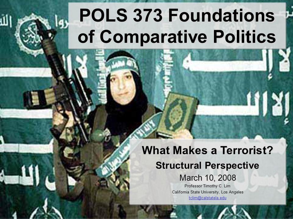 POLS 373 Foundations of Comparative Politics What Makes a Terrorist.