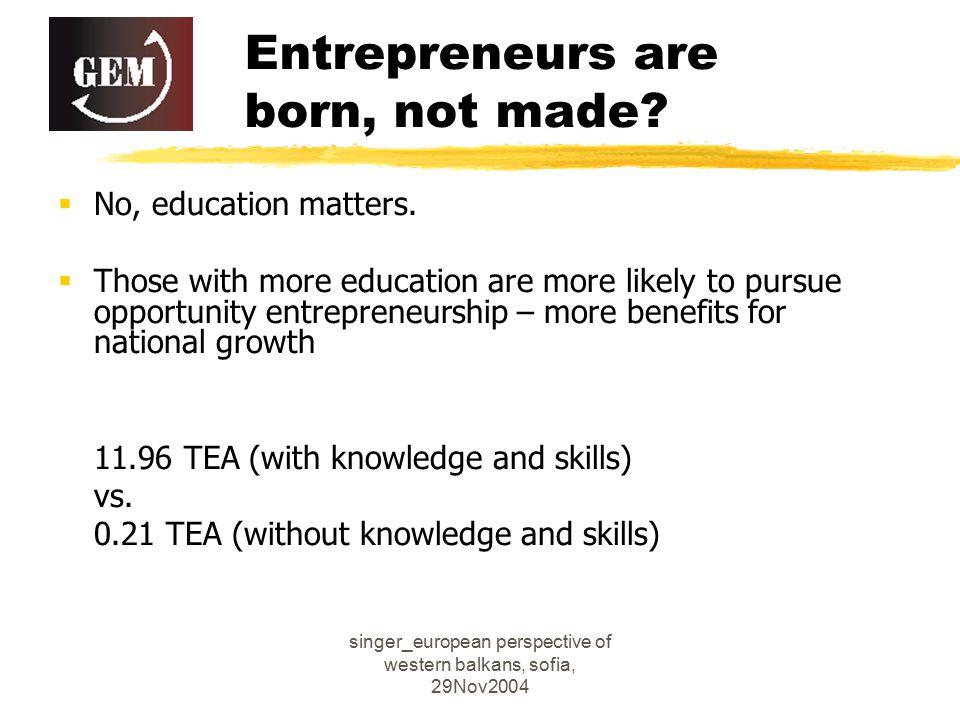 singer_european perspective of western balkans, sofia, 29Nov2004 Entrepreneurs are born, not made.