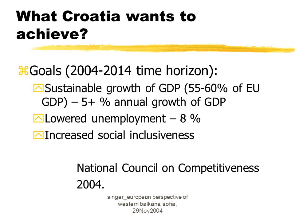 singer_european perspective of western balkans, sofia, 29Nov2004 What Croatia wants to achieve.