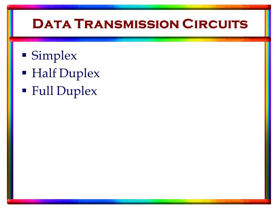 Data Transmission Circuits  Simplex  Half Duplex  Full Duplex