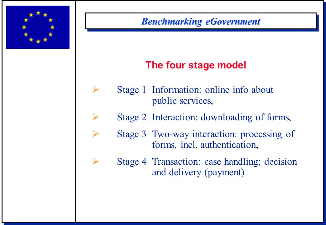 Benchmarking eGovernment The four stage model  Stage 1 Information: online info about public services,  Stage 2 Interaction: downloading of forms,  Stage 3 Two-way interaction: processing of forms, incl.