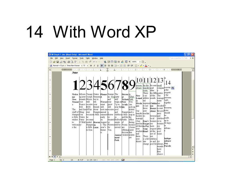 14 With Word XP