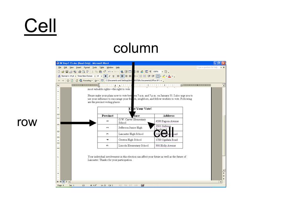 Cell row column cell