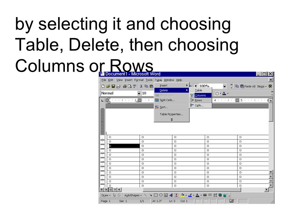 by selecting it and choosing Table, Delete, then choosing Columns or Rows