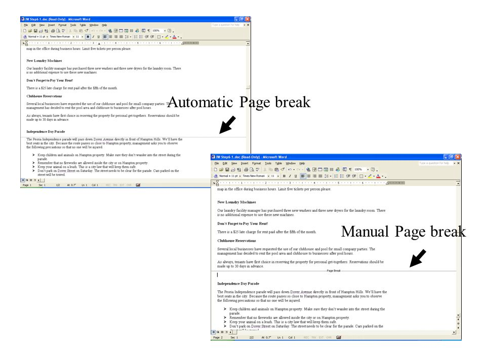 Automatic Page break Manual Page break
