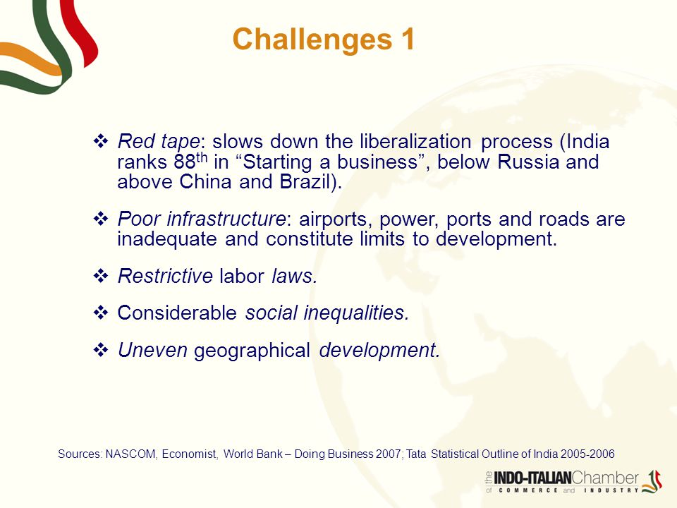 Challenges 1  Red tape: slows down the liberalization process (India ranks 88 th in Starting a business , below Russia and above China and Brazil).