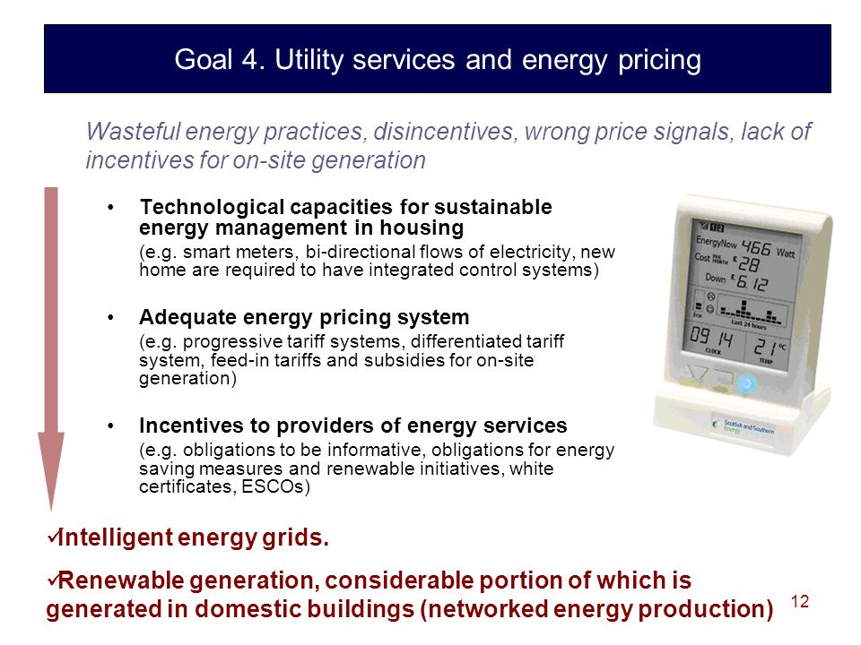 12 Technological capacities for sustainable energy management in housing (e.g.