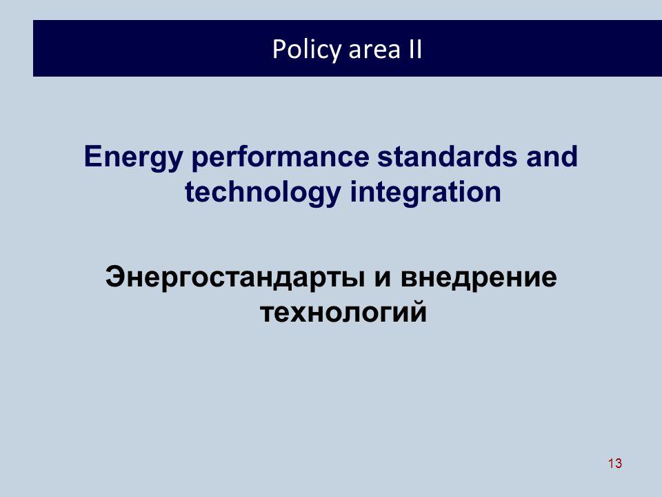 13 Policy area II Energy performance standards and technology integration Энергостандарты и внедрение технологий