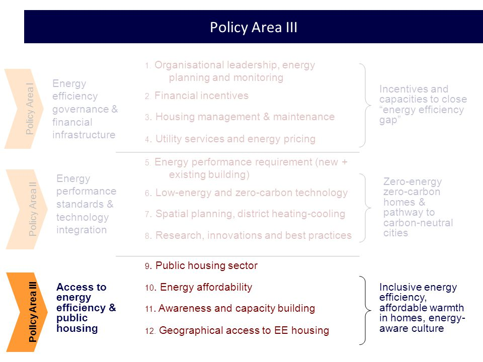 20 Policy Area III Policy Area I Energy efficiency governance & financial infrastructure Energy performance standards & technology integration Access to energy efficiency & public housing Policy Area III 1.