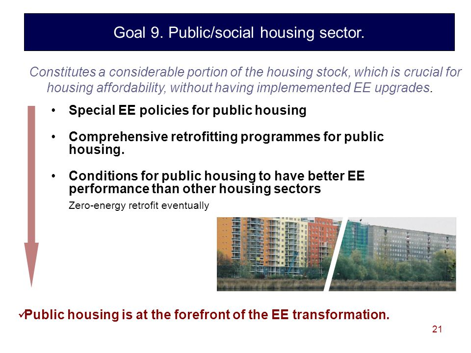 21 Special EE policies for public housing Comprehensive retrofitting programmes for public housing.