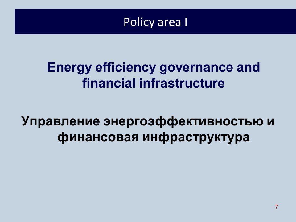 7 Policy area I Energy efficiency governance and financial infrastructure Управление энергоэффективностью и финансовая инфраструктура