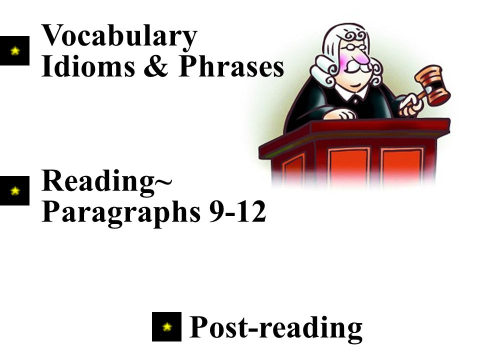 Post-reading Vocabulary Idioms & Phrases Reading~ Paragraphs 9-12