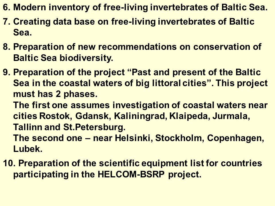 6.Modern inventory of free-living invertebrates of Baltic Sea.