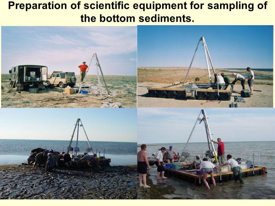 Preparation of scientific equipment for sampling of the bottom sediments.
