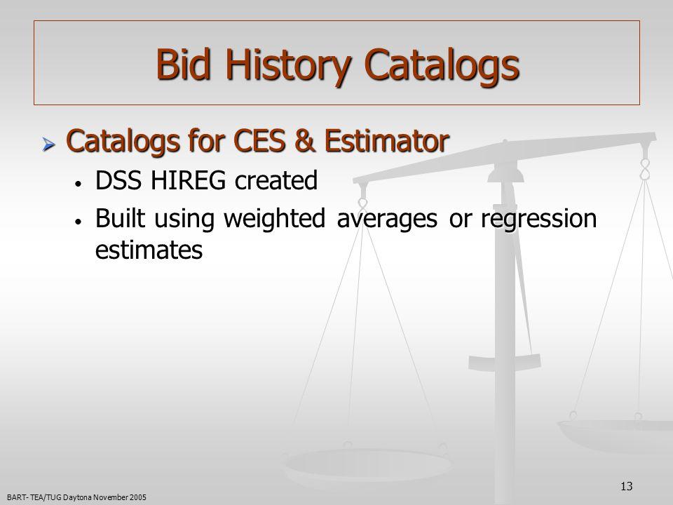 13  Catalogs for CES & Estimator DSS HIREG created DSS HIREG created Built using weighted averages or regression estimates Built using weighted averages or regression estimates Bid History Catalogs BART- TEA/TUG Daytona November 2005