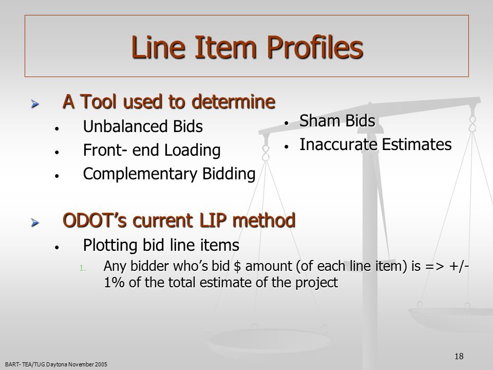 18 Line Item Profiles  A Tool used to determine Unbalanced Bids Unbalanced Bids Front- end Loading Front- end Loading Complementary Bidding Complementary Bidding  ODOT's current LIP method Plotting bid line items Plotting bid line items 1.