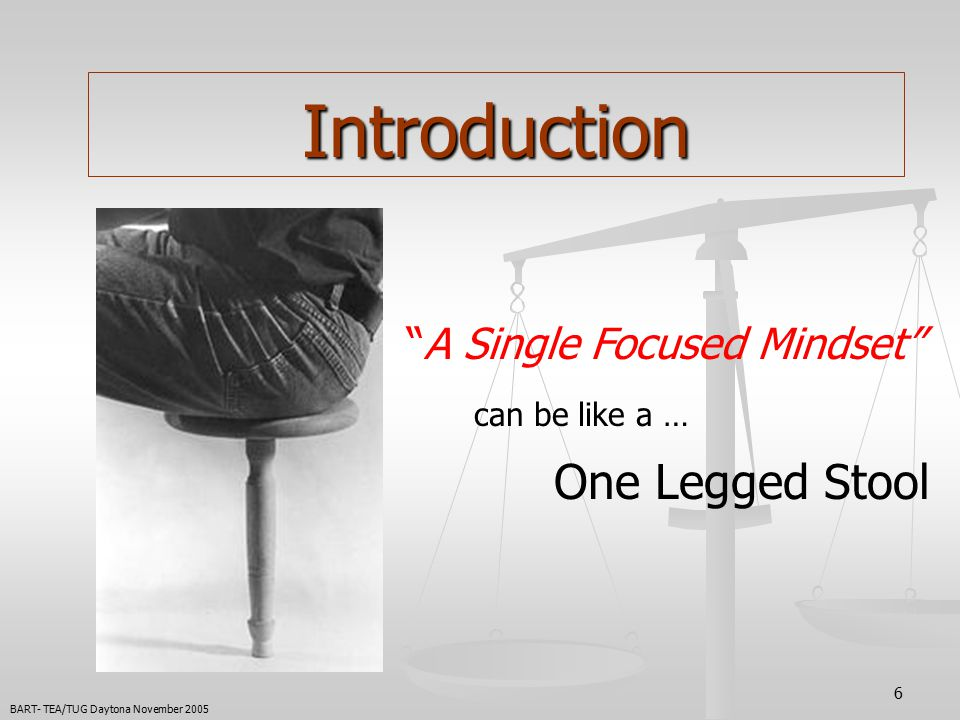6 Introduction A Single Focused Mindset can be like a … One Legged Stool