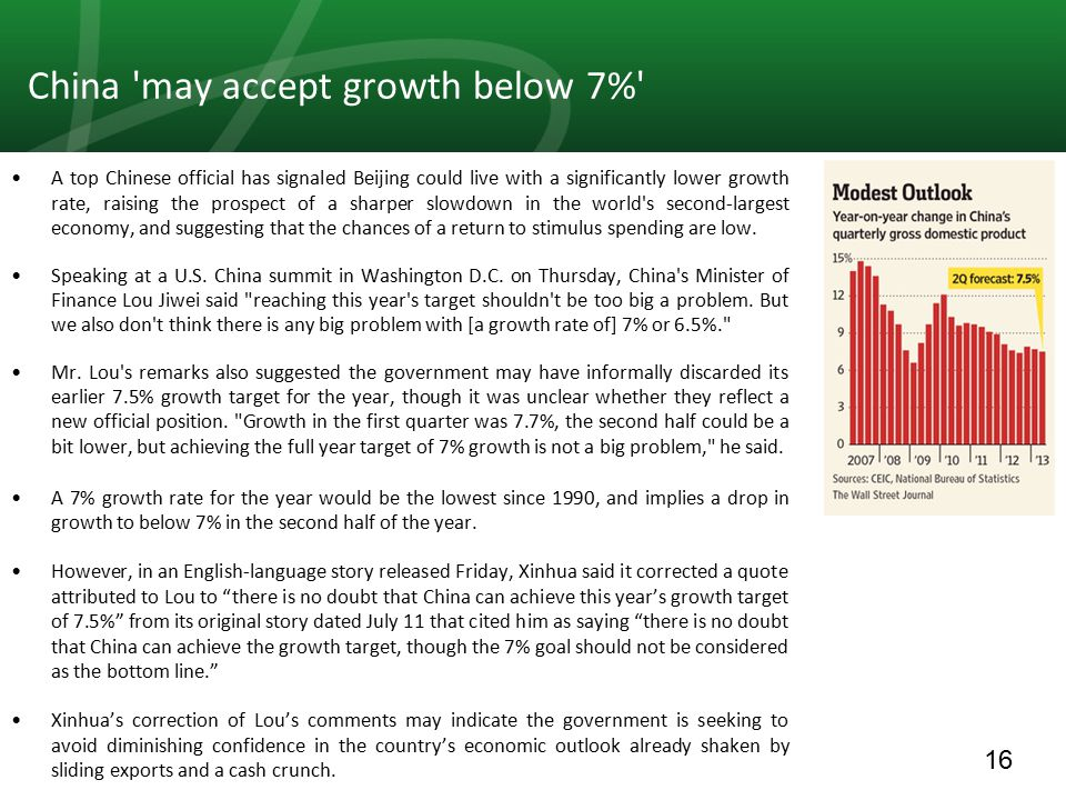 16 China 'may accept growth below 7%' A top Chinese official has signaled Beijing could live with a significantly lower growth rate, raising the prosp