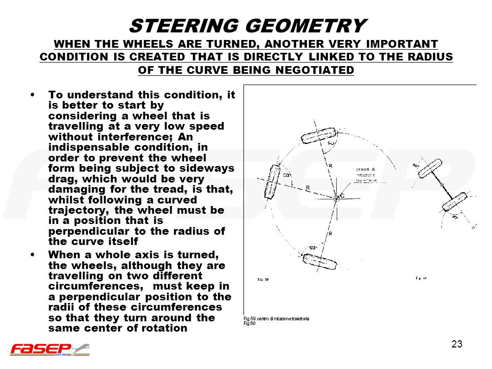 23 STEERING GEOMETRY WHEN THE WHEELS ARE TURNED, ANOTHER VERY IMPORTANT CONDITION IS CREATED THAT IS DIRECTLY LINKED TO THE RADIUS OF THE CURVE BEING