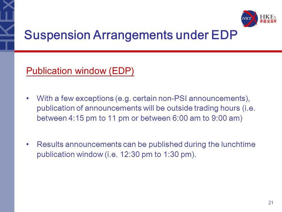 21 Suspension Arrangements under EDP Publication window (EDP) With a few exceptions (e.g.