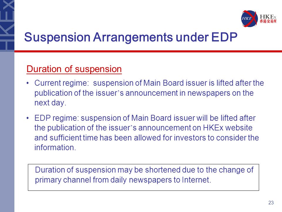 23 Current regime: suspension of Main Board issuer is lifted after the publication of the issuer ' s announcement in newspapers on the next day.