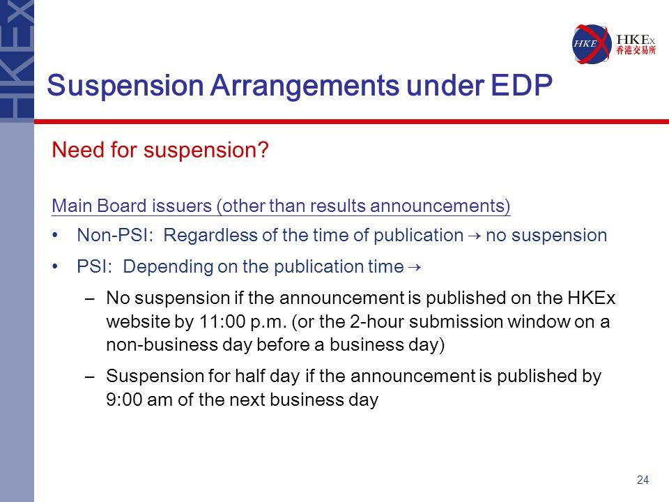 24 Suspension Arrangements under EDP Need for suspension.