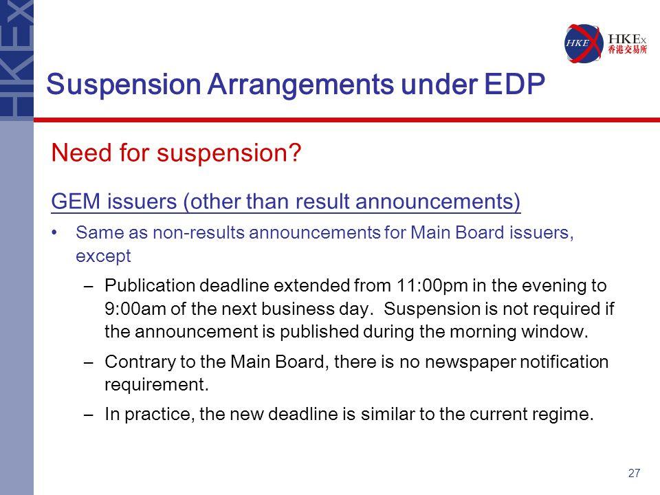 27 Suspension Arrangements under EDP Need for suspension.
