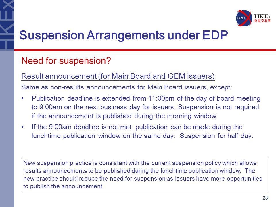 28 Suspension Arrangements under EDP Need for suspension.