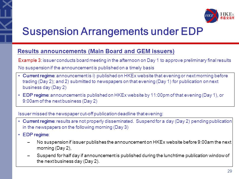 29 Suspension Arrangements under EDP Example 3: issuer conducts board meeting in the afternoon on Day 1 to approve preliminary final results No suspension if the announcement is published on a timely basis Current regime: announcement is i) published on HKEx website that evening or next morning before trading (Day 2); and 2) submitted to newspapers on that evening (Day 1) for publication on next business day (Day 2) EDP regime: announcement is published on HKEx website by 11:00pm of that evening (Day 1), or 9:00am of the next business (Day 2) Issuer missed the newspaper cut-off publication deadline that evening: Current regime: results are not properly disseminated.